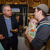 Daniel Forte chats with Mayor Dean Mazzarella while little Connor hangs out during the Taste of Leominster on Wednesday evening at City Hall. SENTINEL & ENTERPRISE / Ashley Green