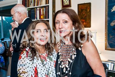Samia Farouki, Aniko Gaal Schott. Photo by Tony Powell. Lucky Roosevelt NPR party. September 11, 2015