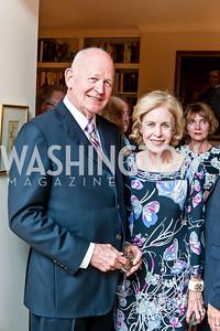 Michael Pillsbury, Ann Nitze. Photo by Tony Powell. Lucky Roosevelt NPR party. September 11, 2015