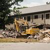 Demolition continues at Lunenburg High School on Wednesday afternoon. SENTINEL & ENTERPRISE / Ashley Green