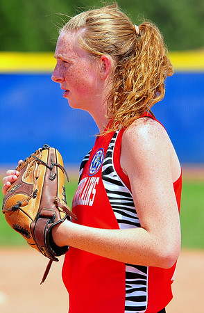 Southern Plains first baseman Macy Kennedy was solid for her team in the 2014 Babe Ruth 16U Midwest Plains Regional played July 17-20 at Citizen's Field in Lamar.
