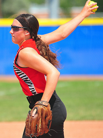 Southern Plains pitcher Leah Osborn winds up for a pitching in the 2014 Babe Ruth 16U Midwest Plains Regional played July 17-20 at Citizen's Field in Lamar.