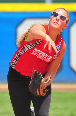 Southern Plains shortstop Brenna Rouse makes a throw to first base during action against Lamar in the 2014 16U Midwest Plains Regional softball tournament held July 17-20 at Citizen's Field in Lamar. Southern Plains defeated Lamar, 7-6, in the final game of regional to win the championship and advance to the 16U World Series to be played July 30 thru August 5 in Pittsfield, Mass.