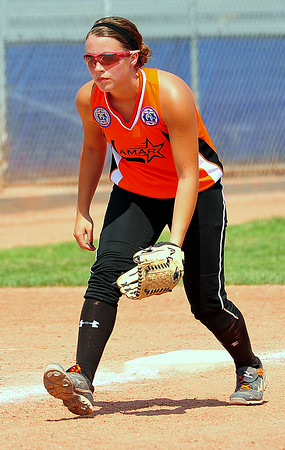 Lamar third baseman Jericka Melgoza concentrates on a batter in  the 2014 Babe Ruth 16U Midwest Plains Regional played July 17-20 at Citizen's Field in Lamar.