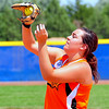 Lamar first baseman Sierra Buxton makes a catch of a pop fly  during the 2014 Babe Ruth 16U Midwest Plains Regional played July 17-20 at Citizen's Field in Lamar.
