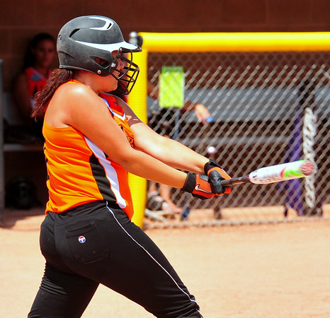 Lamar's Sierra Buxton swings for a base hit  during action against Southern Plains on Saturday in the 2014 16U Midwest Plains Regional softball tournament that was held July 17-20 at Citizen's Field in Lamar. Southern Plains rallied to defeat Lamar, 11-7, a semifinal game. The two teams meet again in the championship bracket on Sunday. Lamar pounded Southern Plains, 17-5, to force a second game for the regional title. Southern Plains scored a run in the top of the seventh and held on for a 7-6 victory to earn a trip to the 16U World Series to be played July 30 thru August 5 in Pittsfield, Mass.
