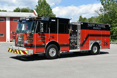 New Creek, West Virginia in Mineral County Engine 38 - a striking 2017 Sutphen Monarch equipped with a 1500/1000/20 and serial number 5938.  Placed into service on July 3, 2017, it replaced a 2000 FL80/Central States 1250/1250 which was sold to Blacksville, WV.