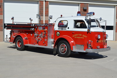 Keyser, West Virginia Engine 33-12, and when photographed in March of 2016, it is still in service.  It does not run first out, however can be used if needed.  33-12 is a 1947 American LaFrance 700 series with a 500 gpm pump and 300 gallon water tank.  It has serial number L3251.  Notice the pump panel on the officer side.  Not very common, however during this time period, this was a common set up for American LaFrance pumpers.