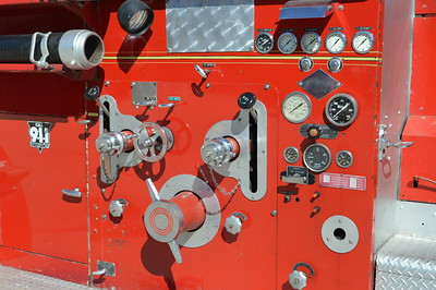 A close up of Engine's 33-12 1947 American LaFrance pump panel.