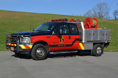 New Creek, West Virginia Brush 38.  2001 Ford F350/WV Fire Trucks and equipped with a 125/225/8.
