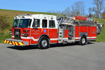 New Creek, WV Tower 38, a 2009 Sutphen SP70  70' with a 1500/500.  Originally a Sutphen demo.  Serial number HS 4510.