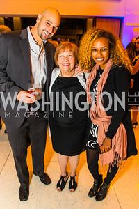 David Malino, Rabbi Tamara Miller, Yvonne Woldeab. Photo by Alfredo Flores. Moment Magazine's 40th Anniversary Celebration Gala & Awards Dinner. Embassy of France. November 15, 2015