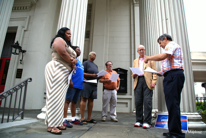Members of the Virginia Interfaith Center meet on Monday's on the steps of St. Paul's Episcopal Church, 815 E. Grace Street, Richmond, Virginia.