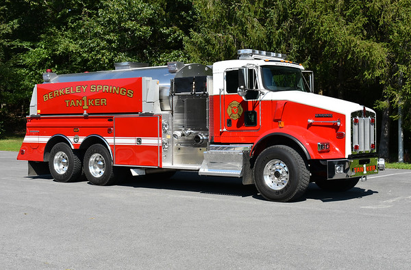 An officer side view of Berkeley Springs, WV Tanker 1 - a 2017 Kenworth T-800/4-Guys 1250/3000.  Photographed in August of 2017 just several days after being placed into service.