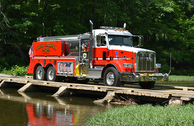 This is Power House bridge in Great Cacapon, and the water source for fire department's when a large fire occurs.  Tanker 2 is seen sitting on the bridge (and blocking traffic) in this June of 2017 photograph.