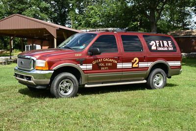 After the station fire in July of 2016, the Hartwood VFD in Stafford County, Virginia donated this 2000 Ford Excursion to Great Cacapon.  It runs as Command 2.