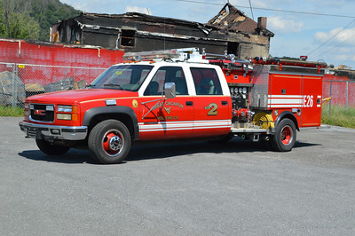 Great Cacapon purchased this 1996 GMC 3500 4x4/1984 Pierce 300/250 in July of 2016 after the station fire on July 5, 2016.  It originally was delivered to Halfway, Maryland (Washington County) with a 1984 GMC cab.  Halfway rehabbed the truck with the addition of the 1996 GMC cab.  Pierce job number E2596.