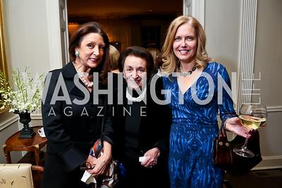 Aniko Gaal Schott, Lucky Roosevelt, Dr. Susan Bennett. Photo by Tony Powell. Lorraine Wallace Book Party. Berman Residence. February 12, 2015