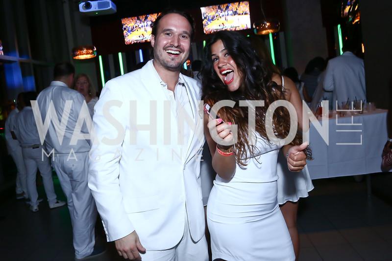 Eric Huxley, Dannia Hakki. Photo by Tony Powell. Pierre Garcon's All White Charity Event. June 4, 2015