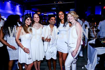 Samira Nikain, Emily Parsons, Prav Saraff, Ritu Narula, Melanie Aliff. Photo by Tony Powell. Pierre Garcon's All White Charity Event. June 4, 2015