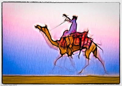 "My own artistic rendition of one of my ""running camel"" images on the Thar desert. Mix of Lightroom  and Iphone apps."