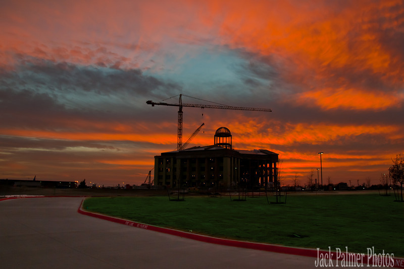 Rockwall, TX Sunset over New Courthouse.
