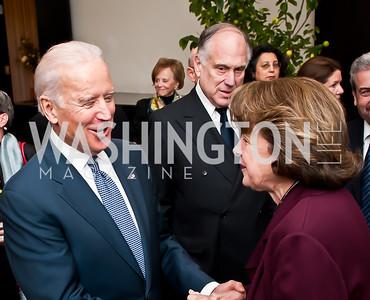 Vice President Joe Biden, Sen. Diane Feinstein. Photo by Tony Powell. Ronald Lauder Decoration. German Amb.'s  residence. January 13, 2015
