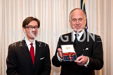 Ambassador Peter Wittig, Ronald Lauder. Photo by Tony Powell. Ronald Lauder Decoration. German Amb.'s  residence. January 13, 2015