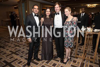 Roy Kapani, Manisha Kapani, John Ackerly, Rory Ackerly. Photo by Alfredo Flores. Sibley Hope and Progress Gala. Four Seasons Hotel. October 17, 2015