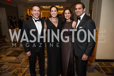 AJ Andreas, Chris Andreas, Manisha Kapani, Roy Kapani, . Photo by Alfredo Flores. Sibley Hope and Progress Gala. Four Seasons Hotel. October 17, 2015