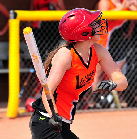 Lamar's Sydney Howland pounds out a hit in the Colorado Babe 14 & Under State Tournament that was held over the weekend at the Lamar Softball Complex. Lamar won the state championship and advances to the Midwest Plains Regional Tournament that will also be played in Lamar this weekend.
