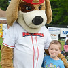 Michael Dwyer, 8, of Leominster, hangs out with Wachusett Dirt Dawgs mascot Digger during Starburst at Doyle Field in Leominster on Saturday evening. SENTINEL & ENTERPRISE / Ashley Green