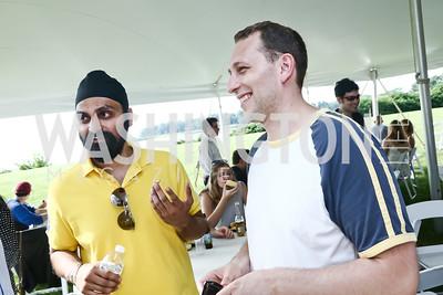 Talk Local founder Manpreet Singh, NextGen founder Dan Mindus. Photo by Tony Powell. Tech Day by the Bay. Glass Residence. Juky 12, 2015