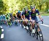 Movistar set the pace at the start of the 15-kilometre ascent...