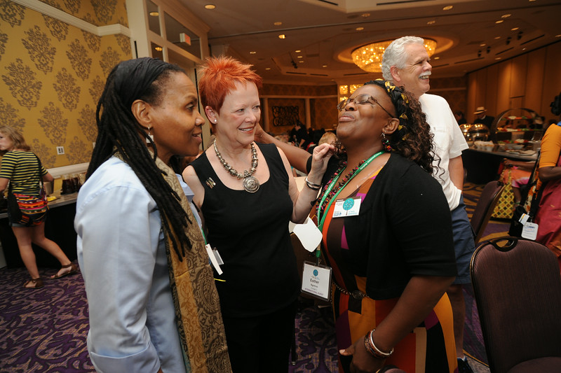 Ninth Triennial Gathering | Patti Austin, center, newly elected president of the Women of the ELCA executive board, chats with Val Starr, left, director of discipleship for Women of the ELCA, and Esther Ngomuo of Tanzania.