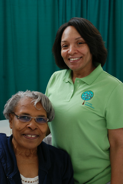 Triennial volunteer Mildred Duke (left) poses with her daughter Deborah Calvert, Women of the ELCA associate executive director. EH.