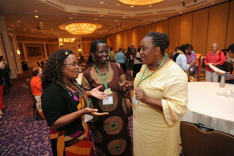 Ninth Triennial Gathering | International guests gathered for a reception Saturday evening, July 26, at the Ninth Triennial Gathering. From left are the Rev. Esther Ngomuo from Tanzania and serving Nashville's Christ Lutheran Church; and Mary Laiser and Sara Lomayani from Tanzania, North Central Diocese.