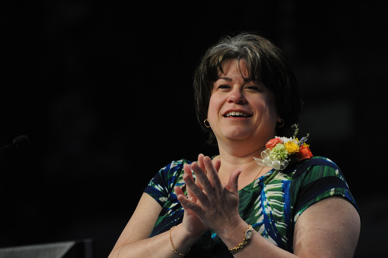 Ninth Triennial Convention | Outgoing churchwide executive board President Jenny Michael offers a tearful good-bye.