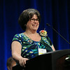 Ninth Triennial Convention | Jennifer Michael, former president of Women of the ELCA, says good-bye to convention delegates as she relinquishes her title of president to Patti Austin. JV
