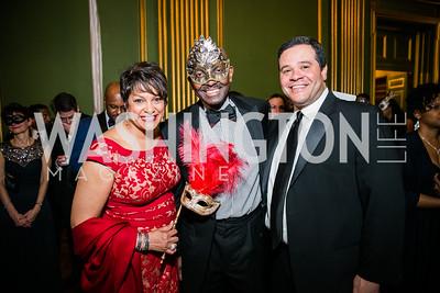 Debbie Jarvis, Derek McGinty, Ernie Jarvis. Photo by Alfredo Flores.  United Negro College Fund 2015 Washington Mayor's Masked Ball. Andrew W Mellon Auditorium. March 7, 2015.