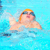 Lamarlins swimmer Cooper Tixier swims the 50 yard leg of the backstroke in the 10 & Under 200 Yard Medley Relay on Saturday morning (July 27) during competition in the Valley Championship held in Lamar. Lamar placed first in the event.