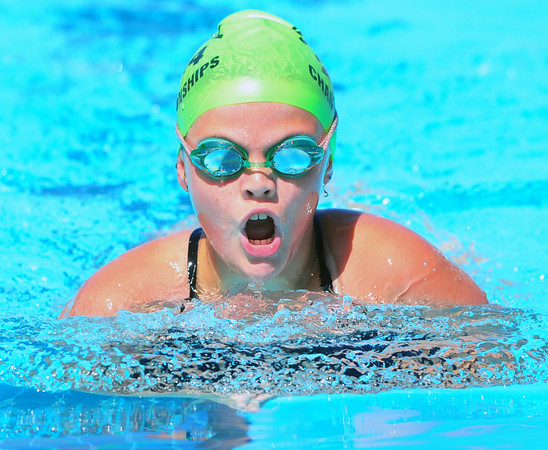 Lamarlins swimmer Alee Tice competes in the Girls 10 & Under 200 Yard IM during Saturday morning's session (July 26) of the Valley Championships. She placed second in the event.