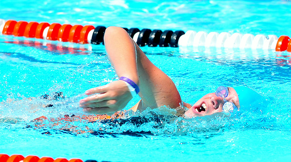 Lamarlins swimmer Marley Flint competes in the 11-12 100 Yard Freestyle during the Valley Championships held at the Lamar Swimming Pool over the weekend.
