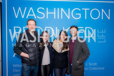 Peter Valente, Cara Herman, Zarina Zuparkhodjaeva, Dan Kandy, Washington Project on the Arts, Opening at Atlantic Plumbing, November 14, 2015, photo by Ben Droz.