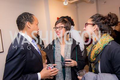 Tariq Tucker, Erica Schlaikjer, Lauren Weinstein, Washington Project on the Arts, Opening at Atlantic Plumbing, November 14, 2015, photo by Ben Droz.
