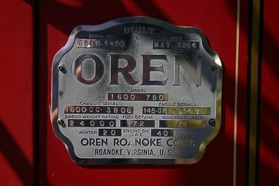 The Oren plate from the 1954 Corbitt/Oren at Greenbrier Hotel.