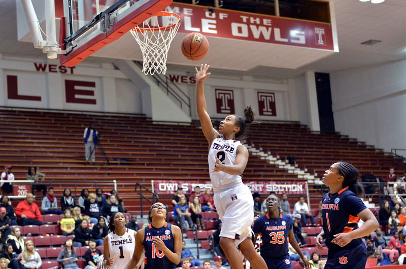 NOVEMBER 16 - Temple Owls guard Feyonda Fitzgerald (2) shoots a lay-up during the NCAA ladies basketball game against Auburn  November 16, 2013 in Philadelphia