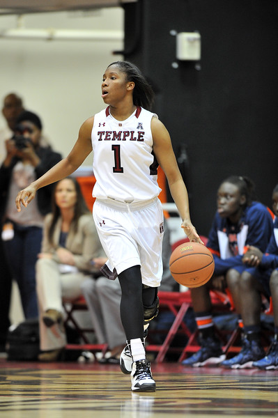 NOVEMBER 16 - PHILADELPHIA: Temple Owls guard Erica Covile (1) dribbles the ball during the NCAA ladies basketball game against Auburn  November 16, 2013 in Philadelphia