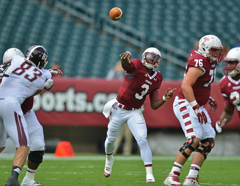 PHILADELPHIA - SEPTEMBER 14: Temple quarterback Clinton Granger throws the ball September 14, 2013 in Philadelphia.