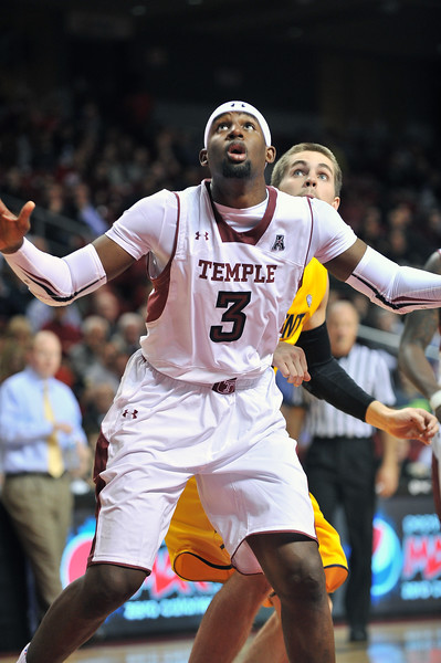 NOVEMBER 11 - PHILADELPHIA: Temple Owls center Anthony Lee (3) blocks out trying for a rebound during the NCAA basketball game against Kent State November 11, 2013 in Philadelphia
